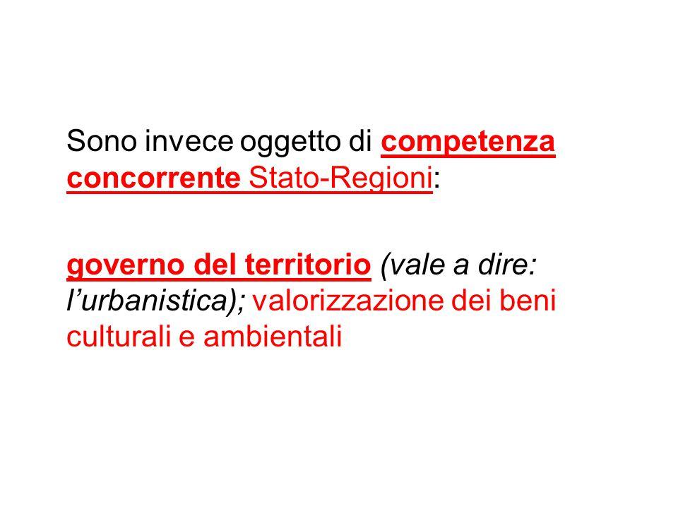 Sono invece oggetto di competenza concorrente Stato-Regioni: governo del territorio (vale a dire: l'urbanistica); valorizzazione dei beni culturali e