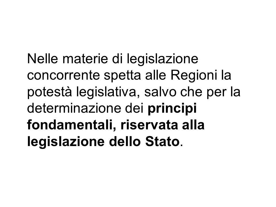 Nelle materie di legislazione concorrente spetta alle Regioni la potestà legislativa, salvo che per la determinazione dei principi fondamentali, riser