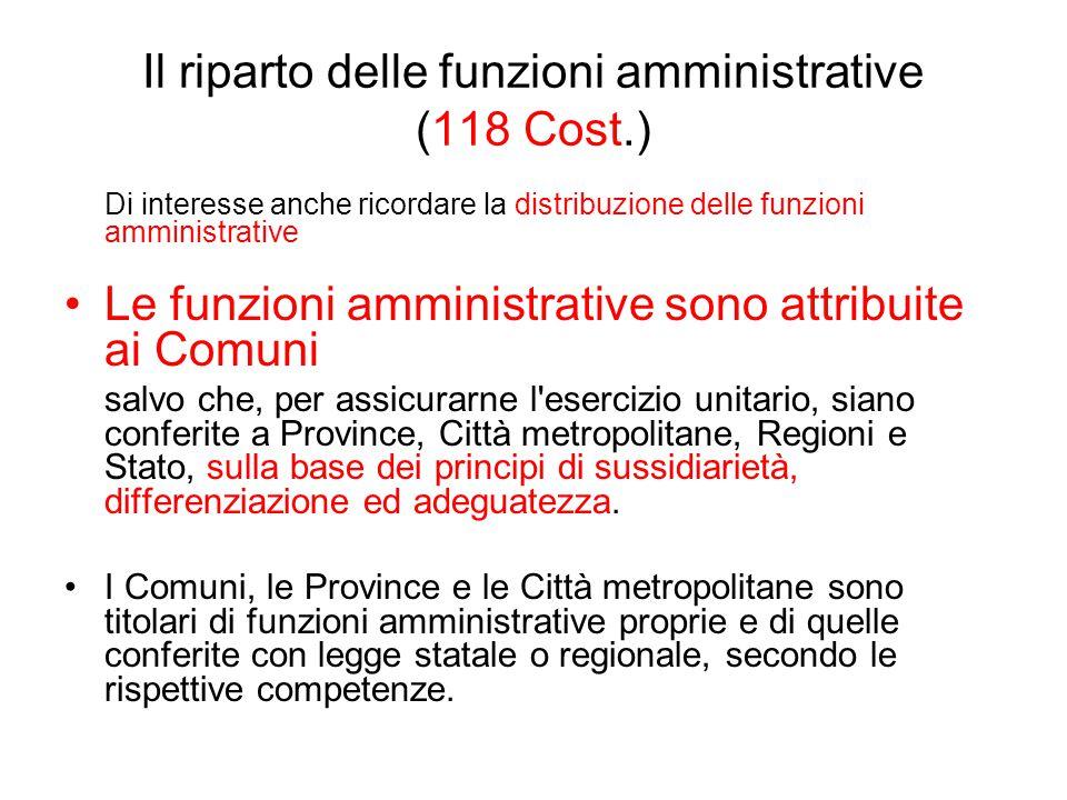 Il riparto delle funzioni amministrative (118 Cost.) Di interesse anche ricordare la distribuzione delle funzioni amministrative Le funzioni amministr