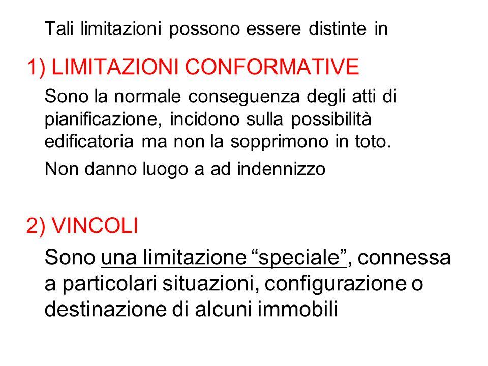 Tali limitazioni possono essere distinte in 1) LIMITAZIONI CONFORMATIVE Sono la normale conseguenza degli atti di pianificazione, incidono sulla possi