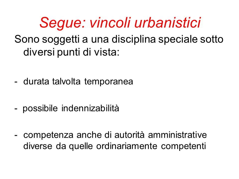 Segue: vincoli urbanistici Sono soggetti a una disciplina speciale sotto diversi punti di vista: - durata talvolta temporanea - possibile indennizabil