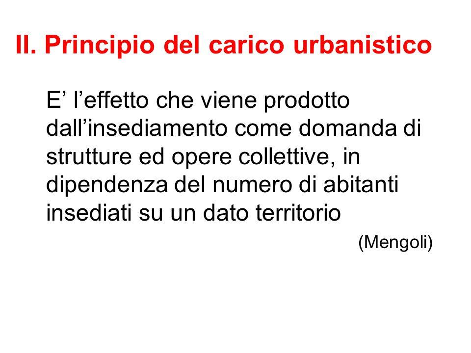 II. Principio del carico urbanistico E' l'effetto che viene prodotto dall'insediamento come domanda di strutture ed opere collettive, in dipendenza de
