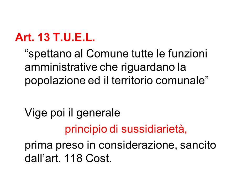 """Art. 13 T.U.E.L. """"spettano al Comune tutte le funzioni amministrative che riguardano la popolazione ed il territorio comunale"""" Vige poi il generale pr"""
