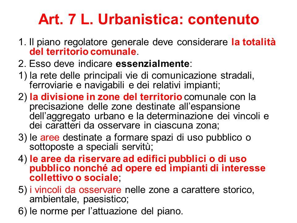 Art. 7 L. Urbanistica: contenuto 1. Il piano regolatore generale deve considerare la totalità del territorio comunale. 2. Esso deve indicare essenzial