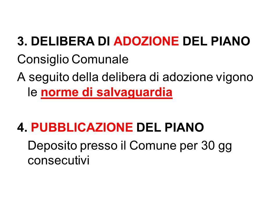 3. DELIBERA DI ADOZIONE DEL PIANO Consiglio Comunale A seguito della delibera di adozione vigono le norme di salvaguardia 4. PUBBLICAZIONE DEL PIANO D