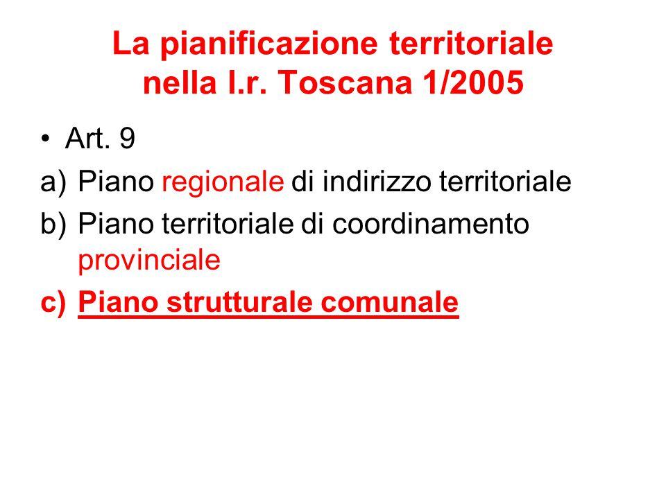 La pianificazione territoriale nella l.r. Toscana 1/2005 Art. 9 a)Piano regionale di indirizzo territoriale b)Piano territoriale di coordinamento prov