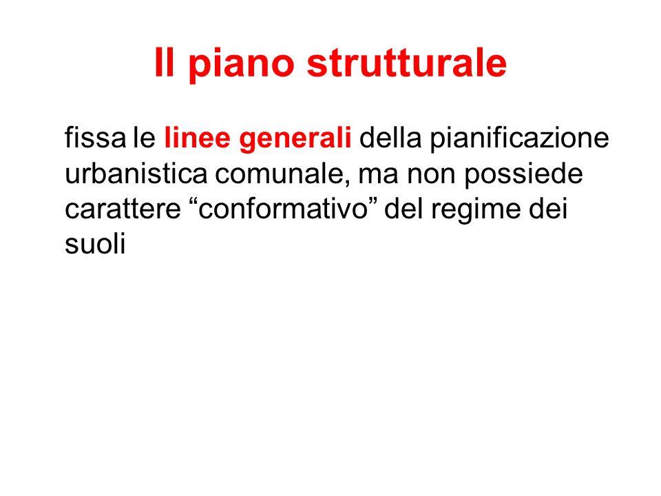 """Il piano strutturale fissa le linee generali della pianificazione urbanistica comunale, ma non possiede carattere """"conformativo"""" del regime dei suoli"""