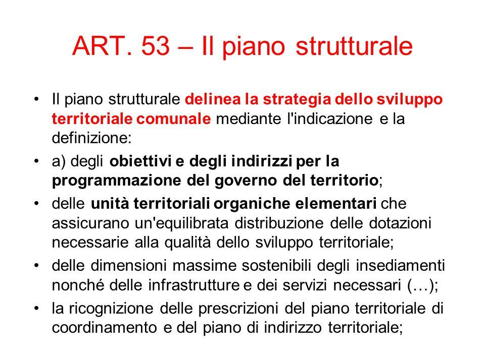 ART. 53 – Il piano strutturale Il piano strutturale delinea la strategia dello sviluppo territoriale comunale mediante l'indicazione e la definizione: