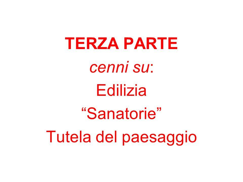 """TERZA PARTE cenni su: Edilizia """"Sanatorie"""" Tutela del paesaggio"""