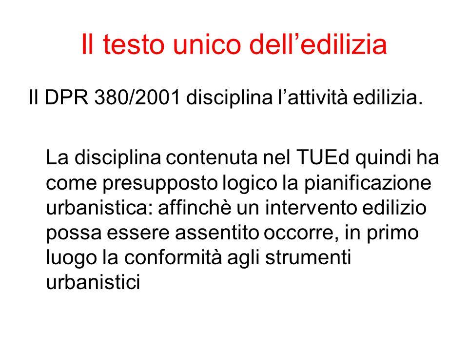 Il testo unico dell'edilizia Il DPR 380/2001 disciplina l'attività edilizia. La disciplina contenuta nel TUEd quindi ha come presupposto logico la pia