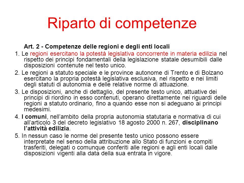 Riparto di competenze Art. 2 - Competenze delle regioni e degli enti locali 1. Le regioni esercitano la potestà legislativa concorrente in materia edi