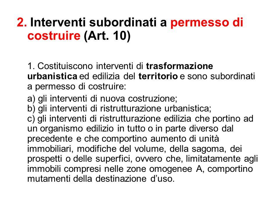 2. Interventi subordinati a permesso di costruire (Art. 10) 1. Costituiscono interventi di trasformazione urbanistica ed edilizia del territorio e son