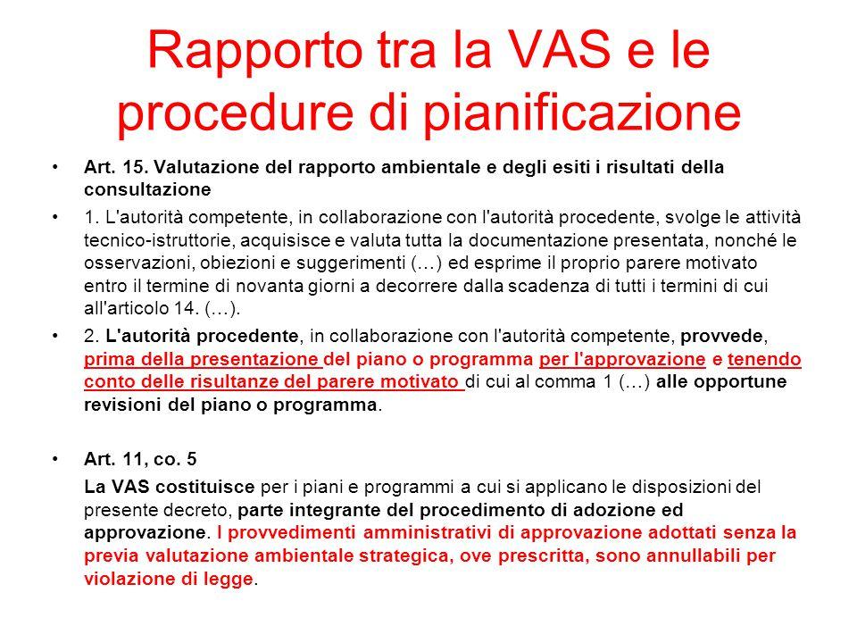 Rapporto tra la VAS e le procedure di pianificazione Art. 15. Valutazione del rapporto ambientale e degli esiti i risultati della consultazione 1. L'a