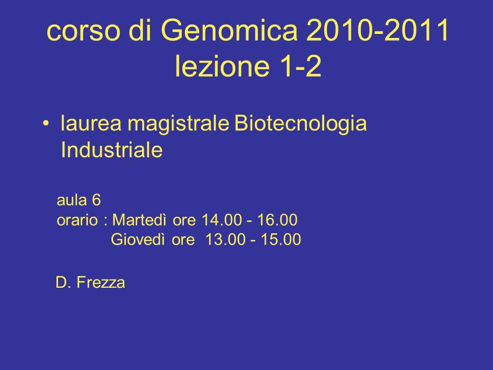 corso di Genomica 2010-2011 lezione 1-2 laurea magistrale Biotecnologia Industriale aula 6 orario : Martedì ore 14.00 - 16.00 Giovedì ore 13.00 - 15.00 D.