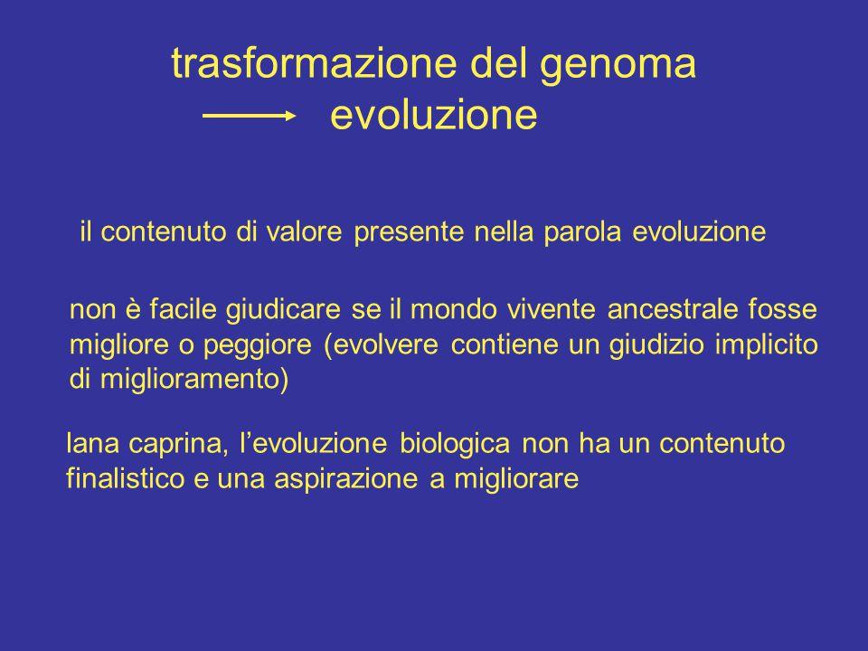 il contenuto di valore presente nella parola evoluzione non è facile giudicare se il mondo vivente ancestrale fosse migliore o peggiore (evolvere contiene un giudizio implicito di miglioramento) lana caprina, l'evoluzione biologica non ha un contenuto finalistico e una aspirazione a migliorare trasformazione del genoma evoluzione