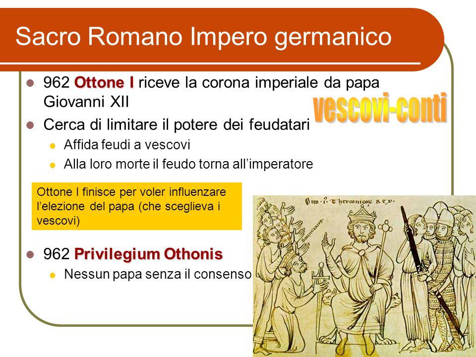 Sacro Romano Impero germanico Ottone I 962 Ottone I riceve la corona imperiale da papa Giovanni XII Cerca di limitare il potere dei feudatari Affida f
