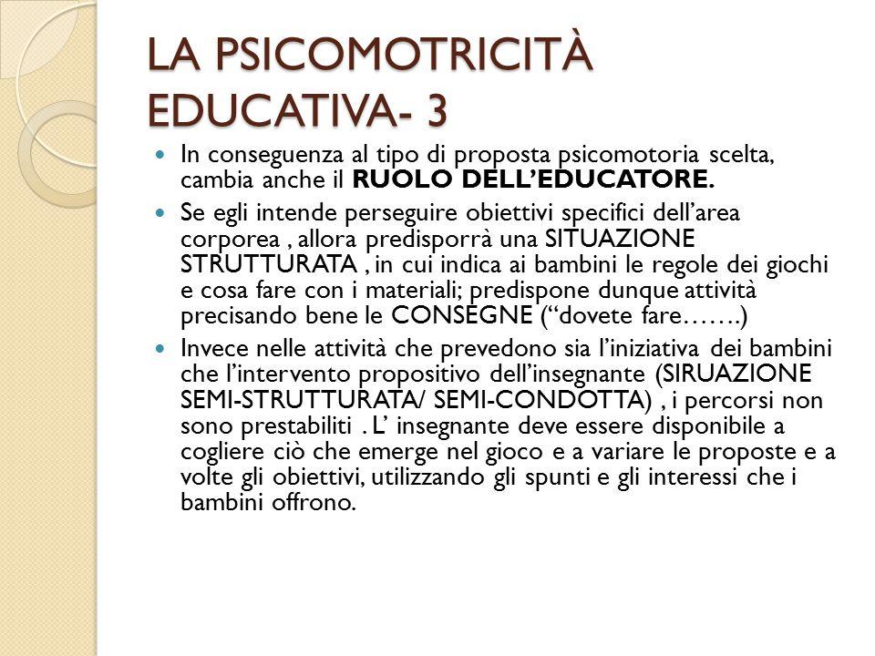LA PSICOMOTRICITÀ EDUCATIVA- 3 In conseguenza al tipo di proposta psicomotoria scelta, cambia anche il RUOLO DELL'EDUCATORE.