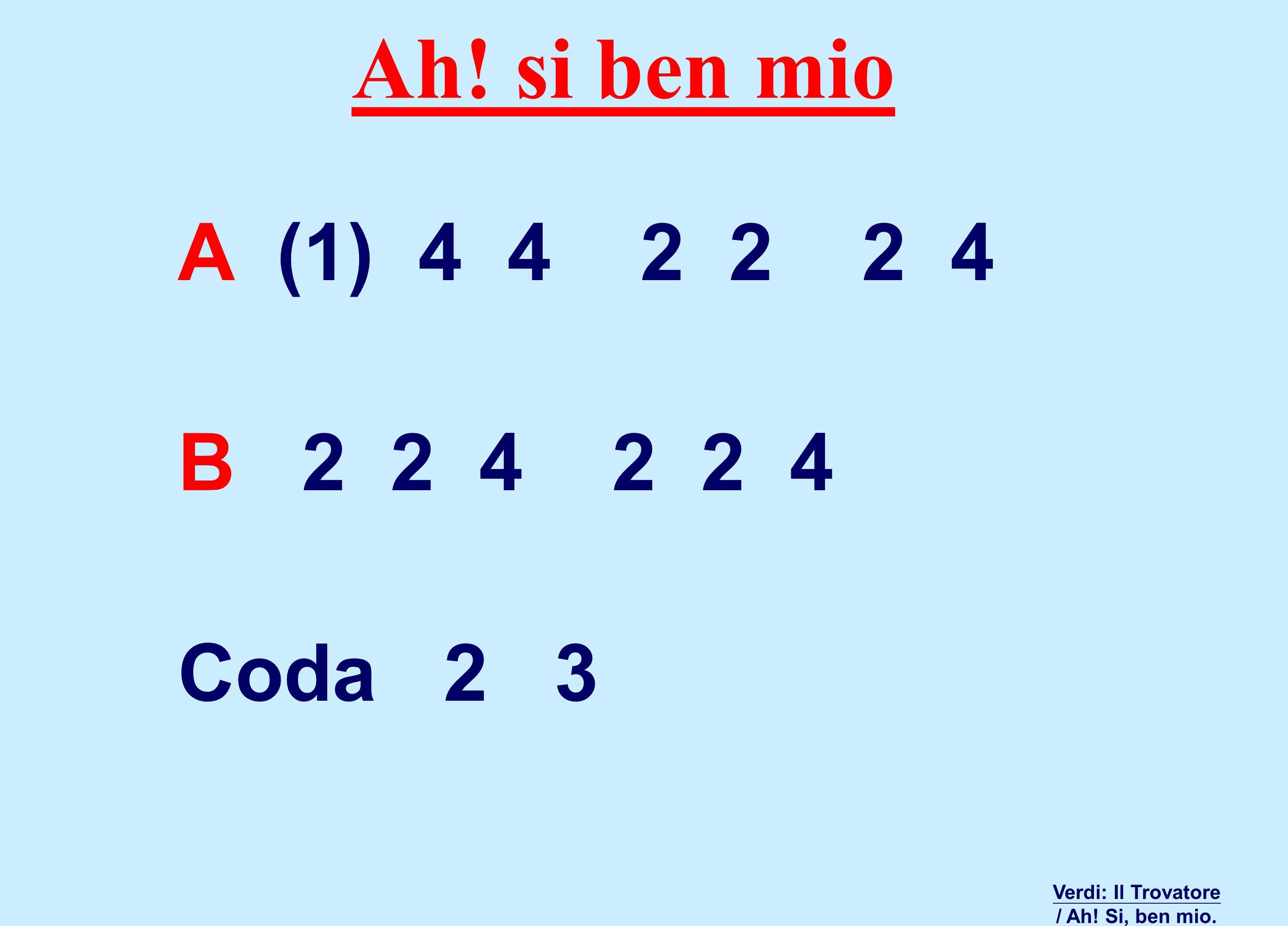 Ah! si ben mio Verdi: Il Trovatore / Ah! Si, ben mio. A (1) 4 4 2 2 2 4 B 2 2 4 2 2 4 Coda 2 3