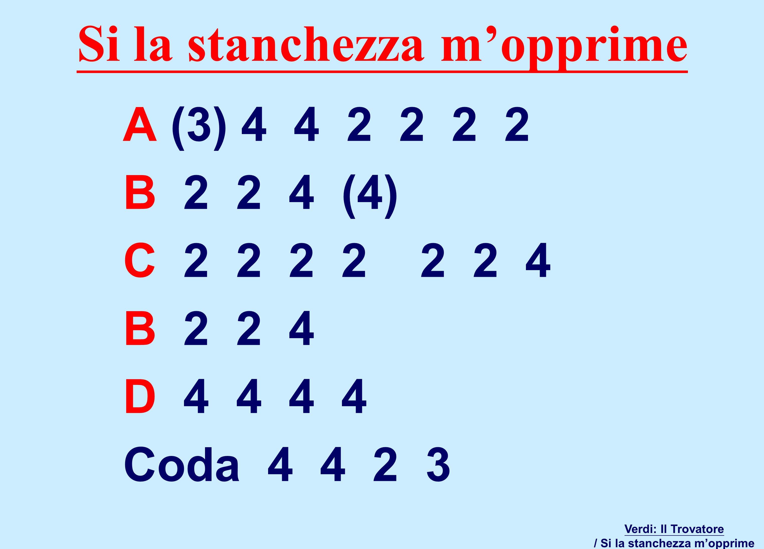 A (3) 4 4 2 2 2 2 B 2 2 4 (4) C 2 2 2 2 2 2 4 B 2 2 4 D 4 4 4 4 Coda 4 4 2 3 Verdi: Il Trovatore / Si la stanchezza m'opprime Si la stanchezza m'opprime