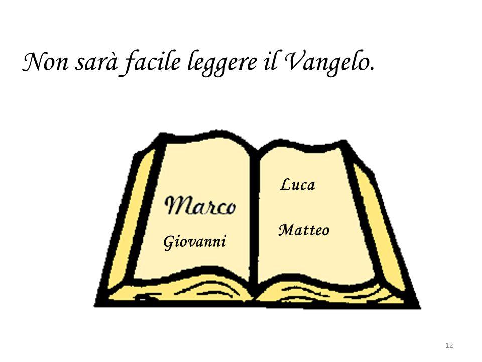 Non sarà facile leggere il Vangelo. 12 Luca Matteo Giovanni