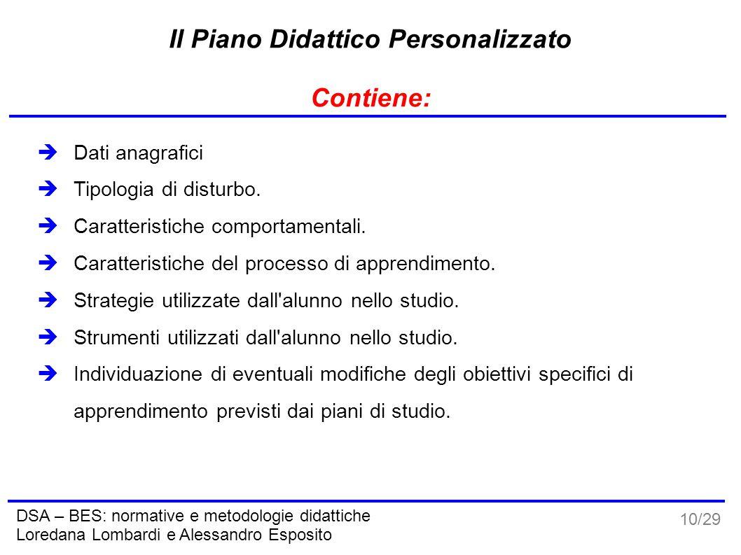 10/29 DSA – BES: normative e metodologie didattiche Loredana Lombardi e Alessandro Esposito Il Piano Didattico Personalizzato Contiene:  Dati anagraf