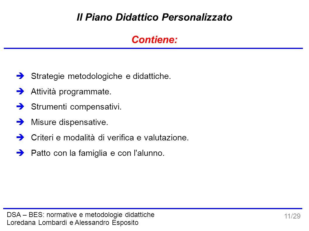 11/29 DSA – BES: normative e metodologie didattiche Loredana Lombardi e Alessandro Esposito Il Piano Didattico Personalizzato Contiene:  Strategie me