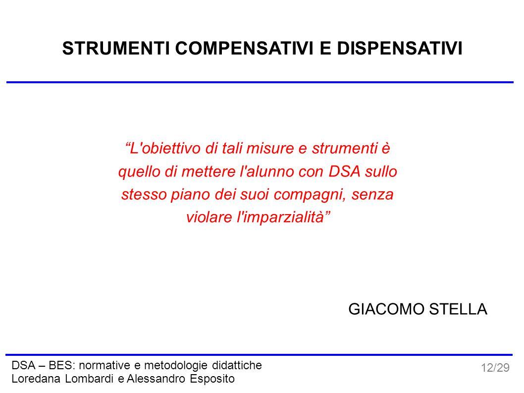 """12/29 DSA – BES: normative e metodologie didattiche Loredana Lombardi e Alessandro Esposito STRUMENTI COMPENSATIVI E DISPENSATIVI """"L'obiettivo di tali"""