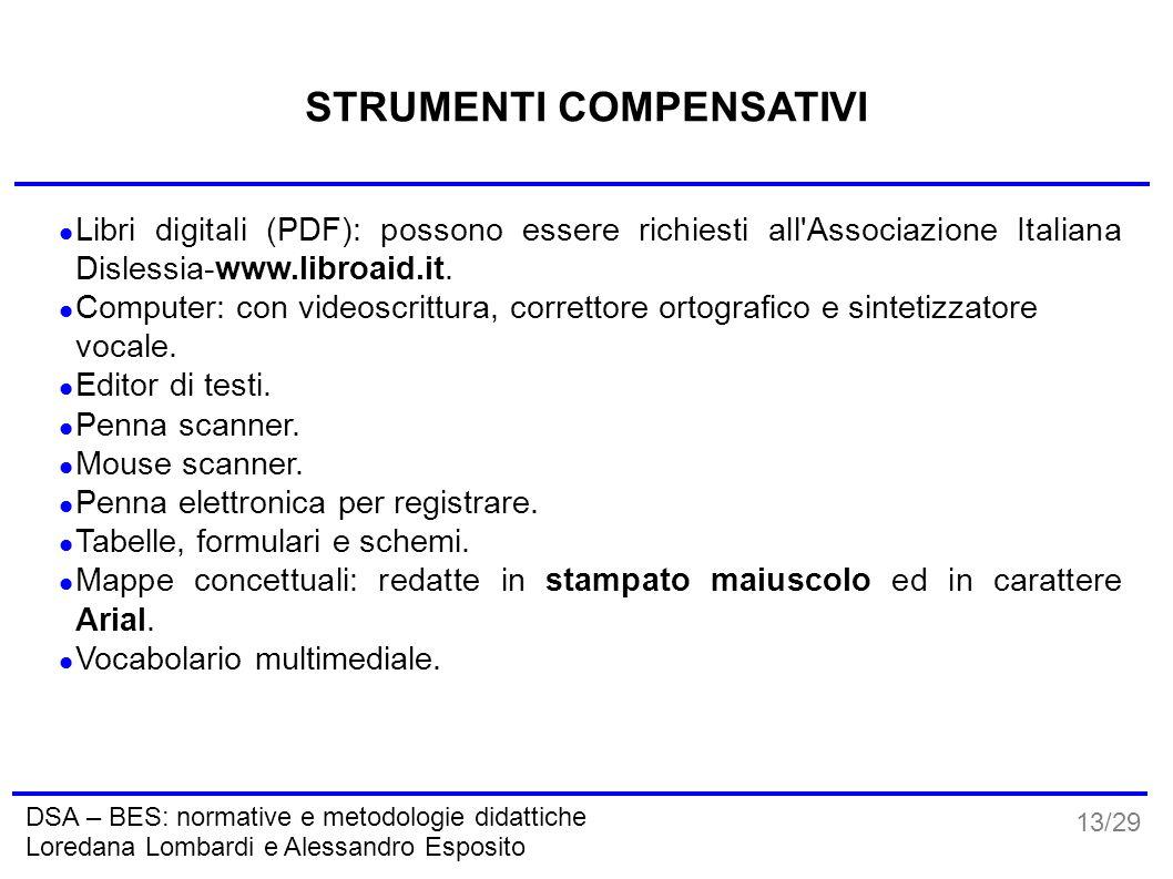 13/29 DSA – BES: normative e metodologie didattiche Loredana Lombardi e Alessandro Esposito STRUMENTI COMPENSATIVI Libri digitali (PDF): possono esser
