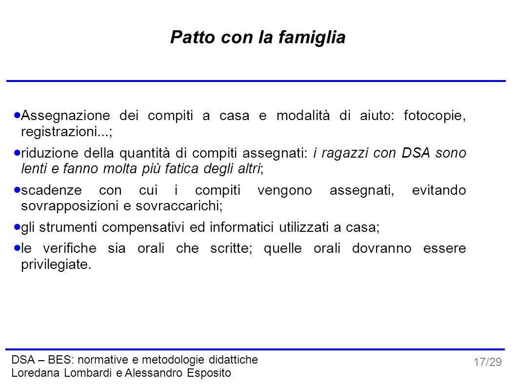 17/29 DSA – BES: normative e metodologie didattiche Loredana Lombardi e Alessandro Esposito Patto con la famiglia  Assegnazione dei compiti a casa e