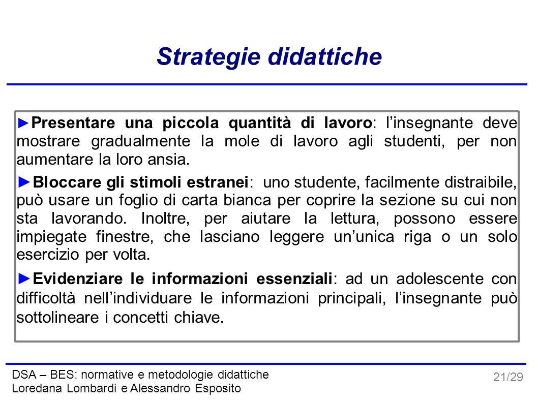 21/29 DSA – BES: normative e metodologie didattiche Loredana Lombardi e Alessandro Esposito Strategie didattiche ► Presentare una piccola quantità di