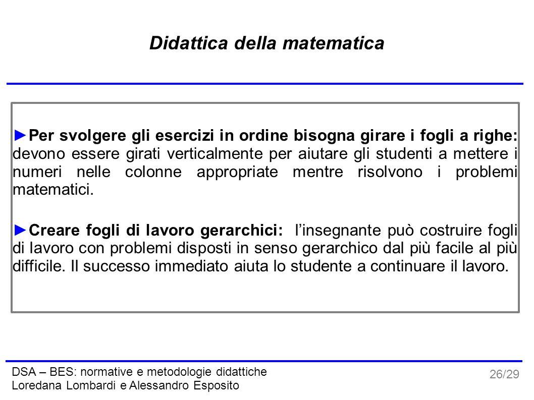 26/29 DSA – BES: normative e metodologie didattiche Loredana Lombardi e Alessandro Esposito Didattica della matematica ►Per svolgere gli esercizi in o