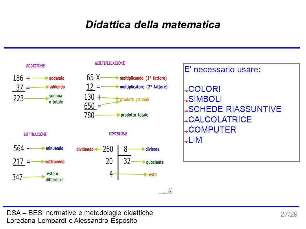 27/29 DSA – BES: normative e metodologie didattiche Loredana Lombardi e Alessandro Esposito Didattica della matematica E' necessario usare: COLORI SIM