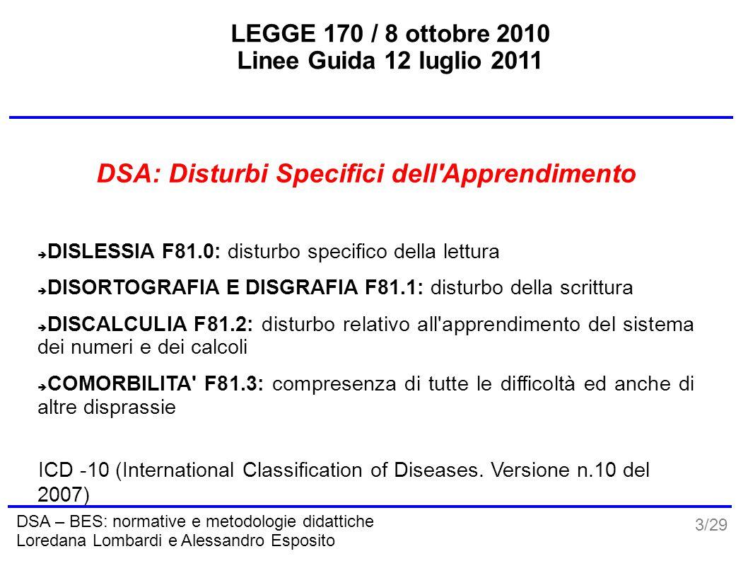 3/29 DSA – BES: normative e metodologie didattiche Loredana Lombardi e Alessandro Esposito LEGGE 170 / 8 ottobre 2010 Linee Guida 12 luglio 2011 DSA: