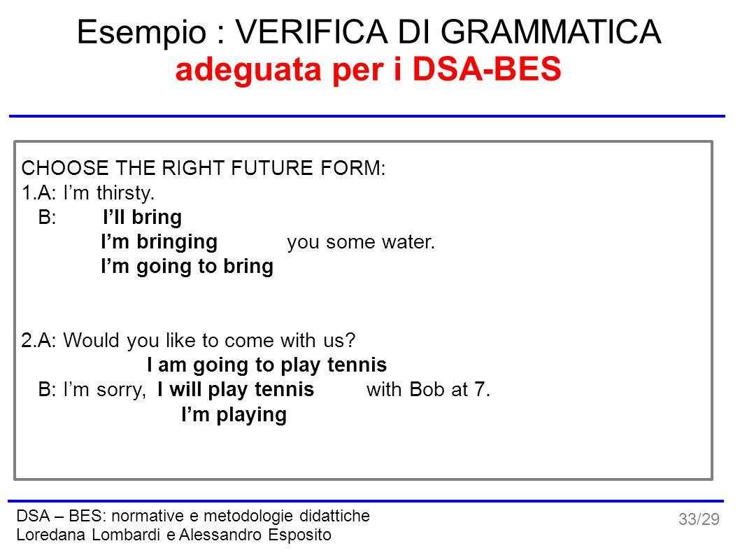 33/29 DSA – BES: normative e metodologie didattiche Loredana Lombardi e Alessandro Esposito Esempio : VERIFICA DI GRAMMATICA adeguata per i DSA-BES CH