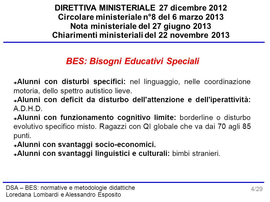 4/29 DSA – BES: normative e metodologie didattiche Loredana Lombardi e Alessandro Esposito DIRETTIVA MINISTERIALE 27 dicembre 2012 Circolare ministeri