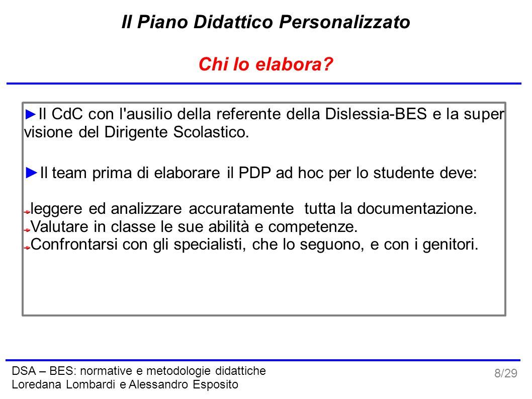 9/29 DSA – BES: normative e metodologie didattiche Loredana Lombardi e Alessandro Esposito Il Piano Didattico Personalizzato Quando si elabora.