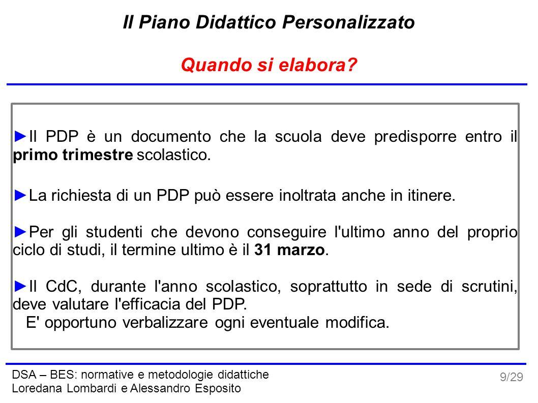 9/29 DSA – BES: normative e metodologie didattiche Loredana Lombardi e Alessandro Esposito Il Piano Didattico Personalizzato Quando si elabora? ►Il PD