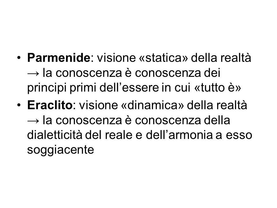 Parmenide: visione «statica» della realtà → la conoscenza è conoscenza dei principi primi dell'essere in cui «tutto è» Eraclito: visione «dinamica» de