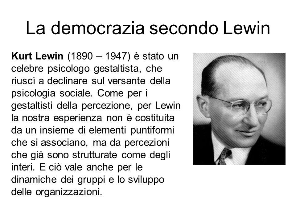 La democrazia secondo Lewin Kurt Lewin (1890 – 1947) è stato un celebre psicologo gestaltista, che riuscì a declinare sul versante della psicologia so