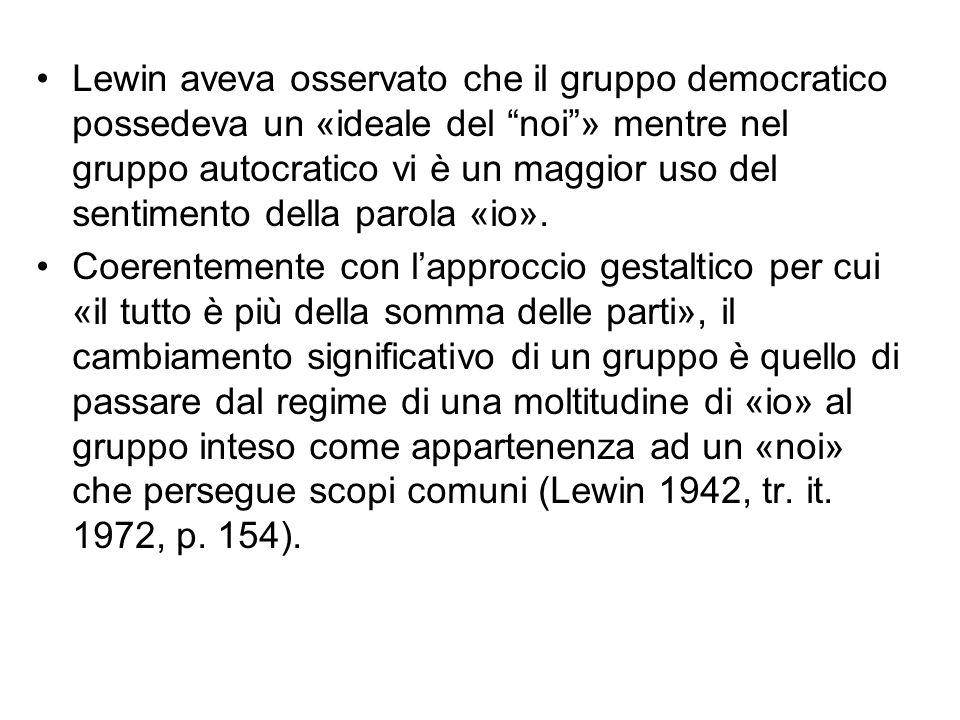 """Lewin aveva osservato che il gruppo democratico possedeva un «ideale del """"noi""""» mentre nel gruppo autocratico vi è un maggior uso del sentimento della"""