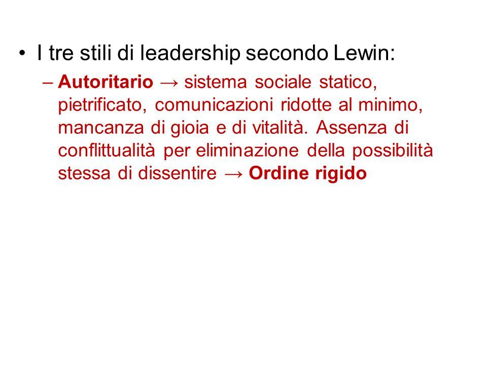 I tre stili di leadership secondo Lewin: –Autoritario → sistema sociale statico, pietrificato, comunicazioni ridotte al minimo, mancanza di gioia e di