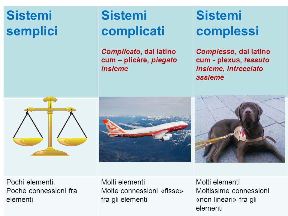 Sistemi semplici Sistemi complicati Complicato, dal latino cum – plicàre, piegato insieme Sistemi complessi Complesso, dal latino cum - plexus, tessut