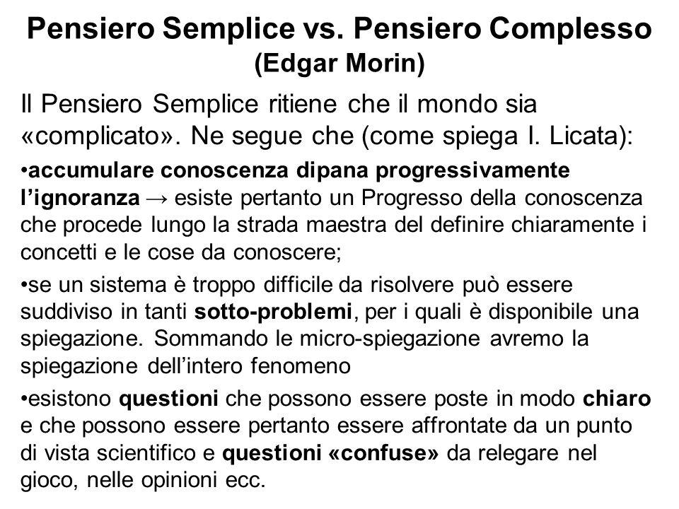 Pensiero Semplice vs. Pensiero Complesso (Edgar Morin) Il Pensiero Semplice ritiene che il mondo sia «complicato». Ne segue che (come spiega I. Licata