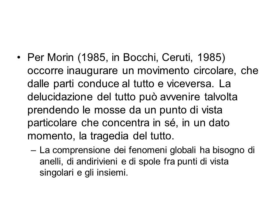 Per Morin (1985, in Bocchi, Ceruti, 1985) occorre inaugurare un movimento circolare, che dalle parti conduce al tutto e viceversa. La delucidazione de