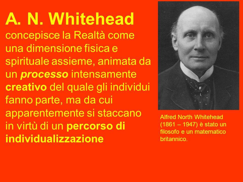 A. N. Whitehead concepisce la Realtà come una dimensione fisica e spirituale assieme, animata da un processo intensamente creativo del quale gli indiv