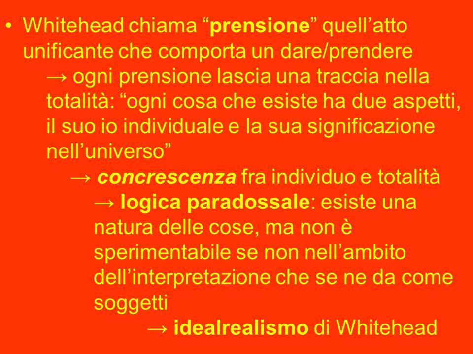 """Whitehead chiama """"prensione"""" quell'atto unificante che comporta un dare/prendere → ogni prensione lascia una traccia nella totalità: """"ogni cosa che es"""