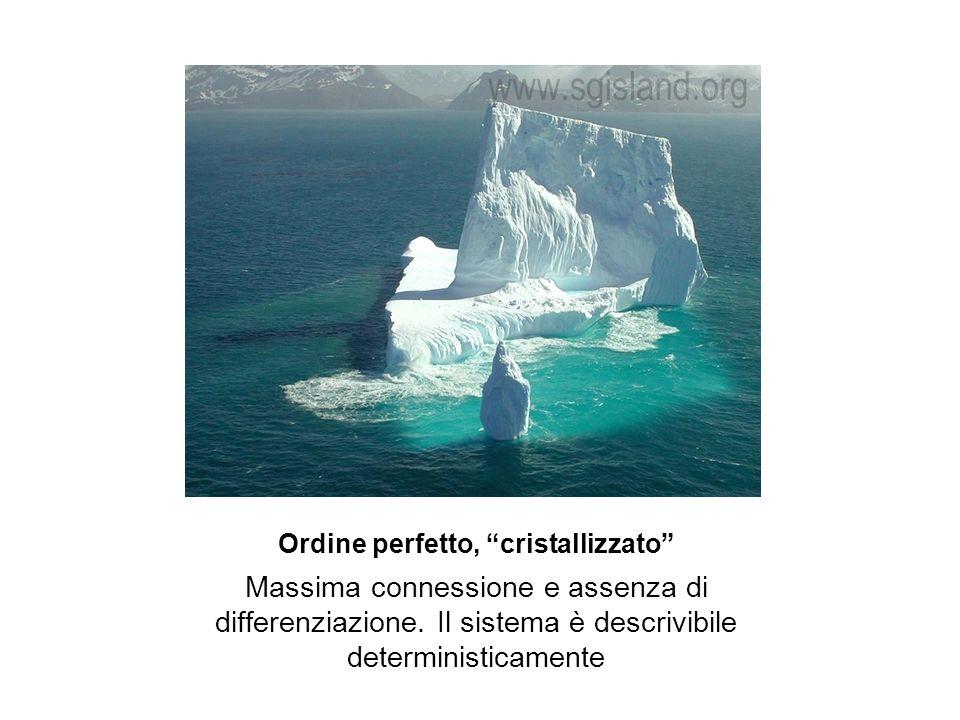 """Ordine perfetto, """"cristallizzato"""" Massima connessione e assenza di differenziazione. Il sistema è descrivibile deterministicamente"""