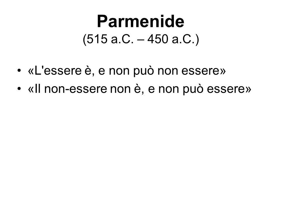 Parmenide (515 a.C. – 450 a.C.) «L'essere è, e non può non essere» «Il non-essere non è, e non può essere»