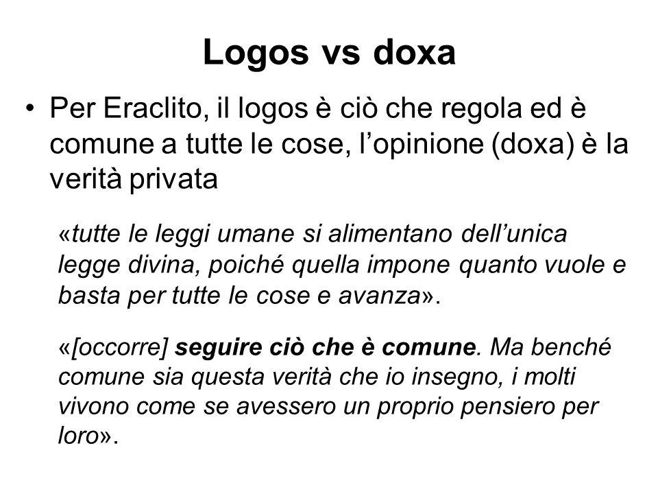 Logos vs doxa Per Eraclito, il logos è ciò che regola ed è comune a tutte le cose, l'opinione (doxa) è la verità privata « tutte le leggi umane si ali