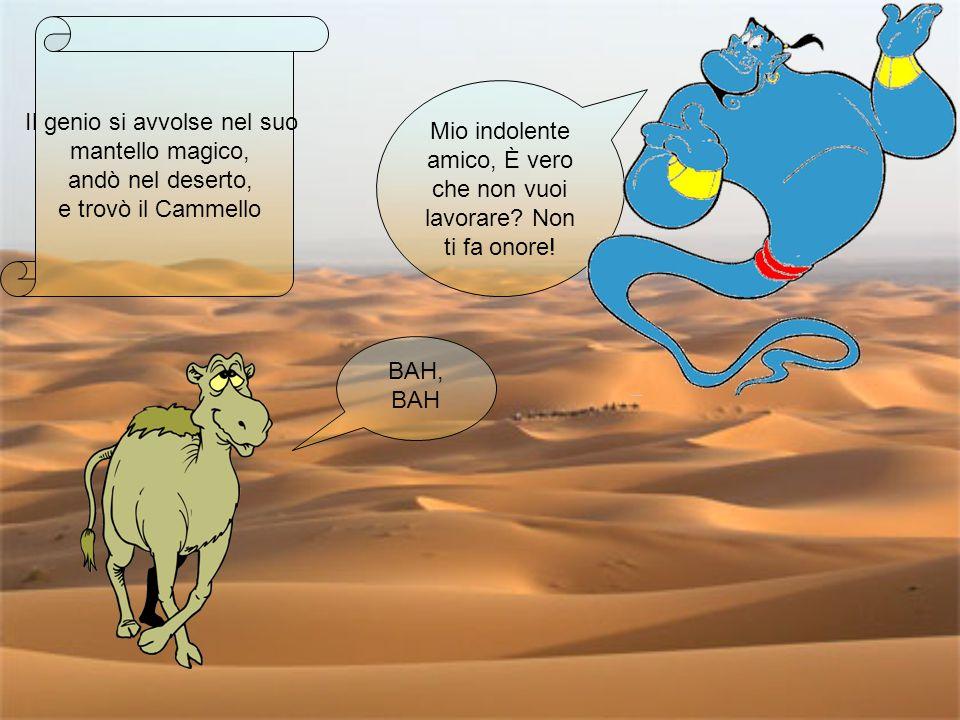 Il genio si avvolse nel suo mantello magico, andò nel deserto, e trovò il Cammello Mio indolente amico, È vero che non vuoi lavorare? Non ti fa onore!